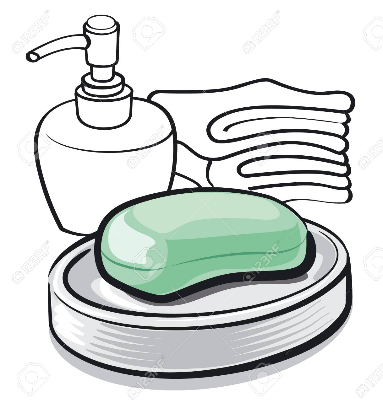 1219x1300 Illustration Of Soap Bar In Bathroom Royalty Free Cliparts