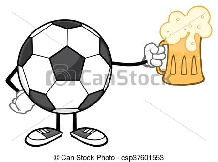 450x335 Soccer Ball Holding A Beer Glass. Soccer Ball Cartoon Mascot