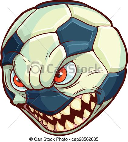 422x470 Soccer Ball Mean Face Sharp Teeth. Vector Cartoon Clip Art