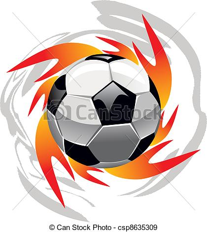 420x470 Fire And Ball. Flame And Soccer Ball Isolated On White Eps