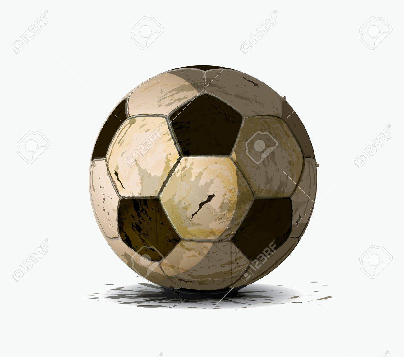 1300x1147 Old Soccer Ball Drawing On A White Background Royalty Free