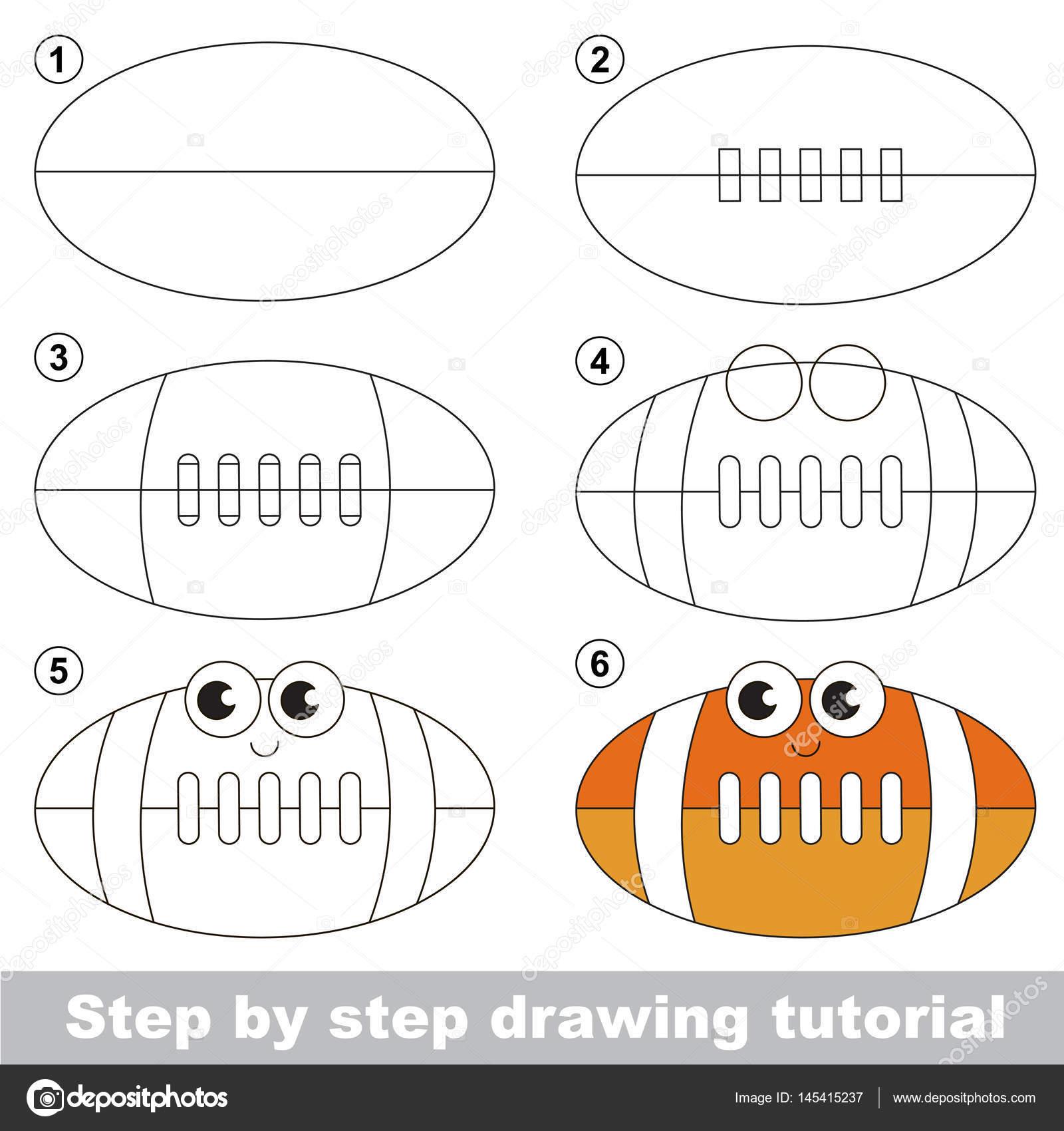 1600x1700 Drawing Tutorial For Preschool Children. Stock Vector
