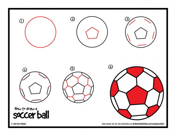 620x479 How To Draw A Soccer Ball Step By Step Drawing Tutorial