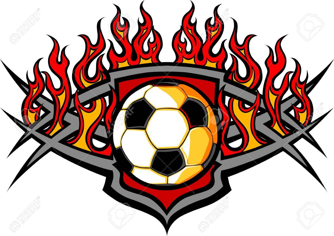 1300x921 Graphic Soccer Ball Image Template With Flames Royalty Free