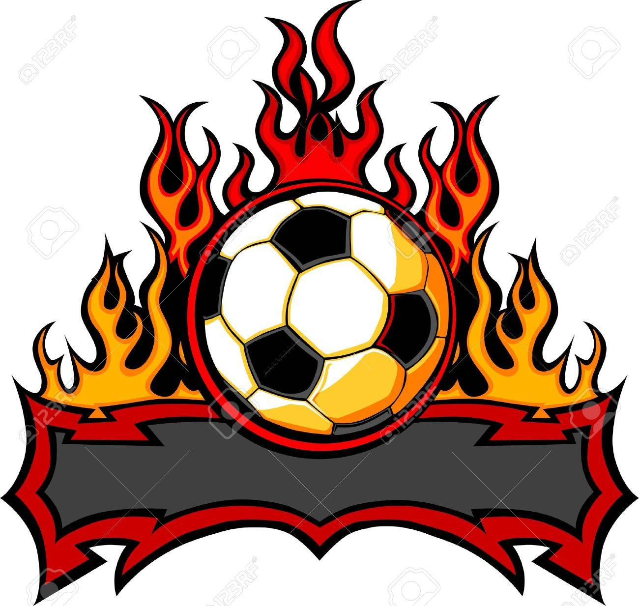 1300x1233 Graphic Soccer Ball Vector Image Template With Flames Royalty Free