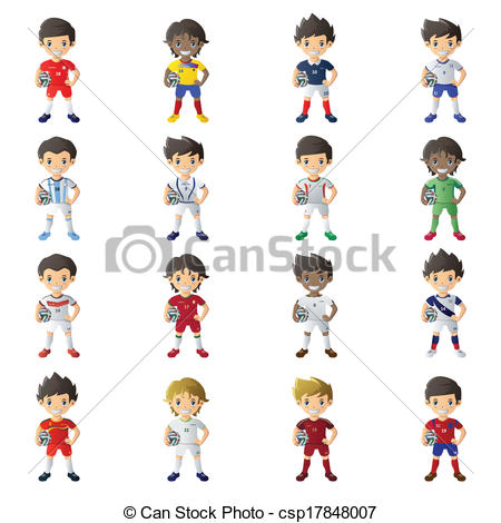 450x470 Vector Illustration Of Boy Wearing Soccer Jersey Holding