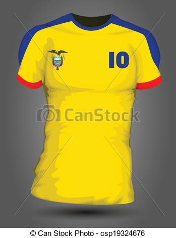 349x470 Ecuador Soccer Jersey Vectors Illustration