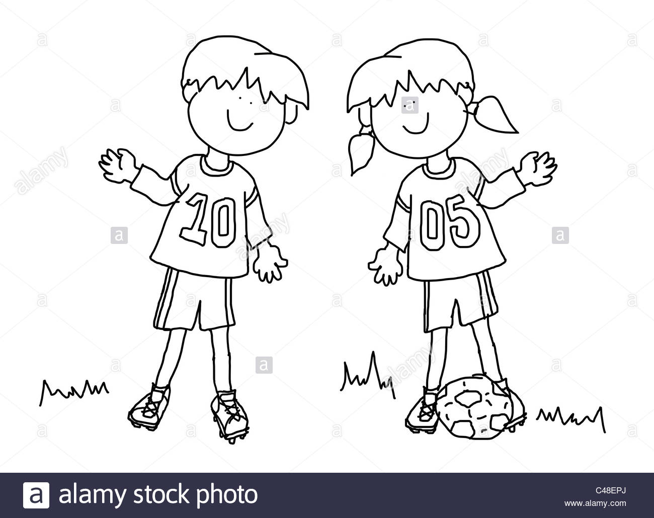 1300x1030 Fun Boy And Girl Cartoon Outline Playing Soccer Or Football