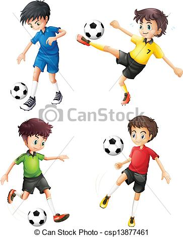 363x470 Illustration Of The Four Soccer Players In Different Clip Art