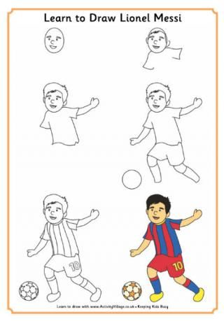 320x459 Learn To Draw Lionel Messi Sketching Football