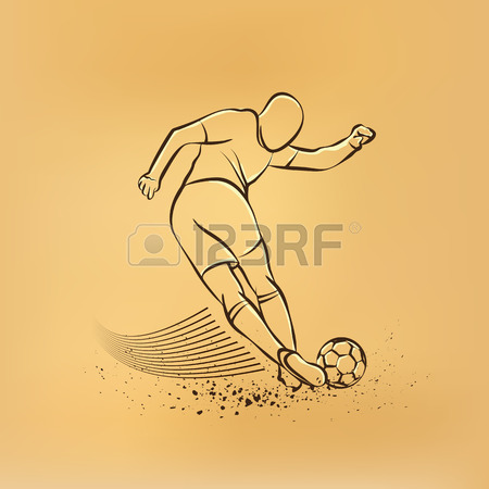 450x450 Two Soccer Players Fighting For The Ball. Forward And Defender