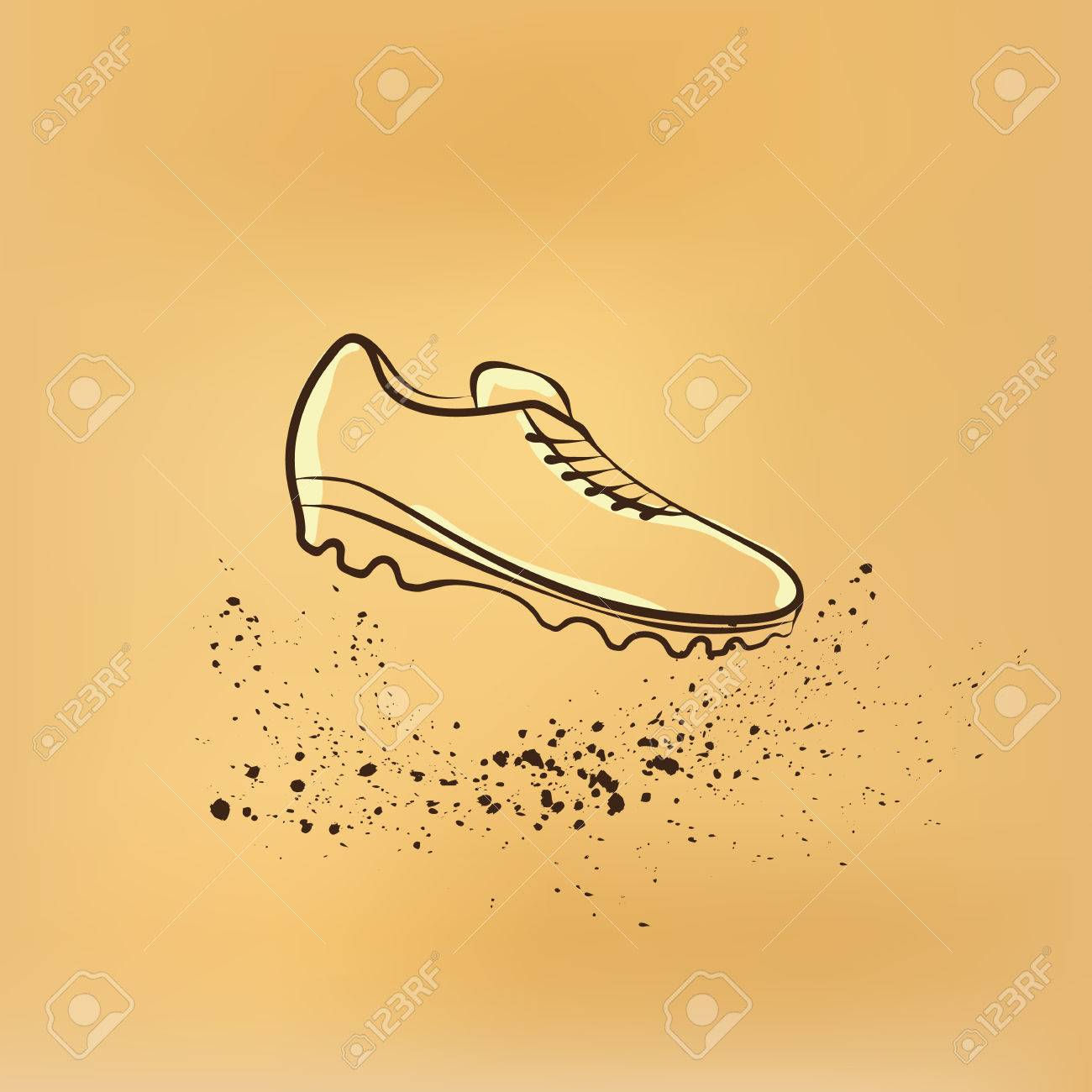 1300x1300 Soccer Shoes. Vector Retro Drawing Illustration. Royalty Free