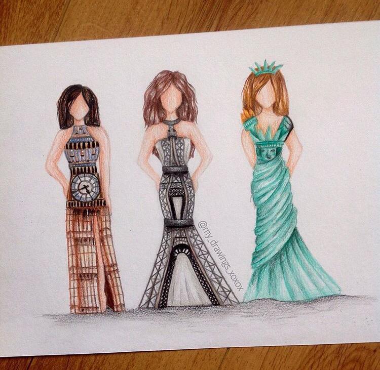 750x731 Landmark Dresses Art Drawings