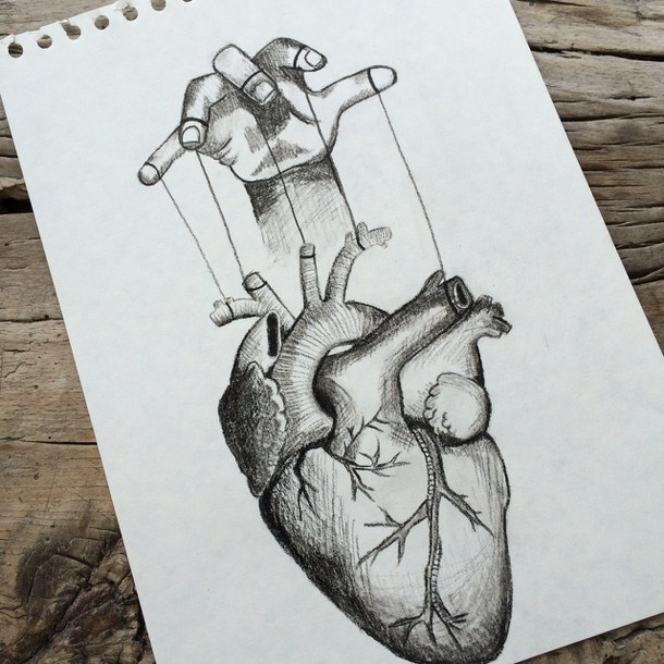 610x610 Drawing, Hand, Heart, Puppet, Society, Strings