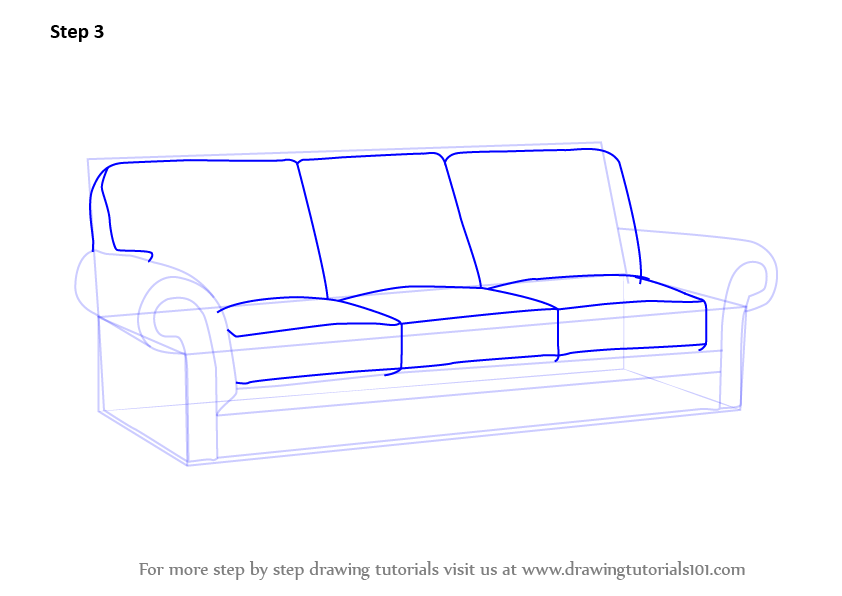 842x596 Learn How To Draw Sofa Furniture Step By Drawing