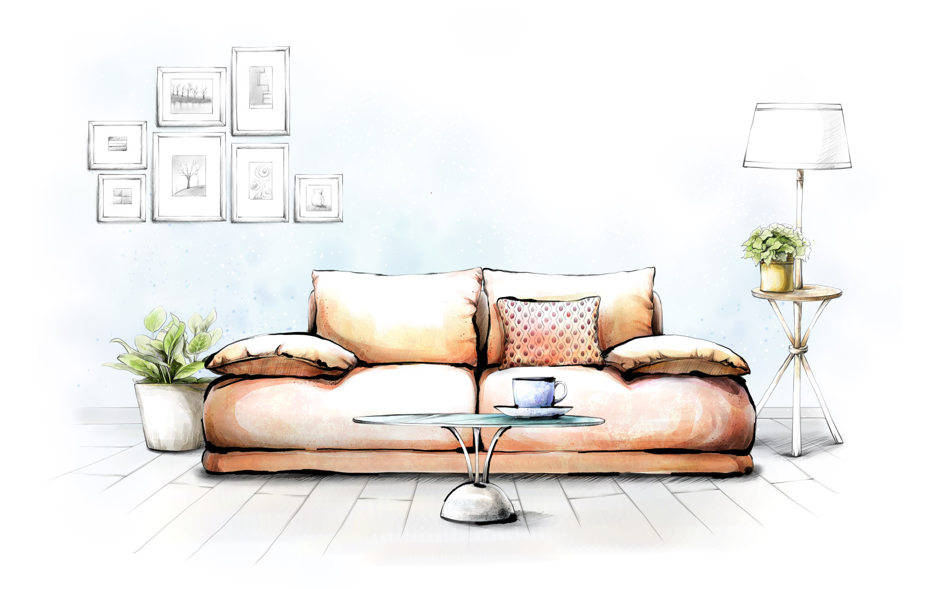 1920x1200 Drawing, Interior, Sofa, Art