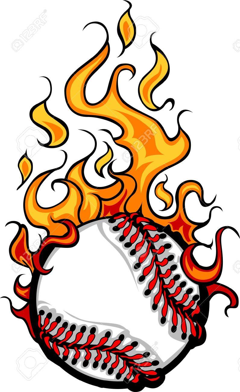 796x1300 Flaming Baseball Softball Ball Cartoon Burning With Fire Flames