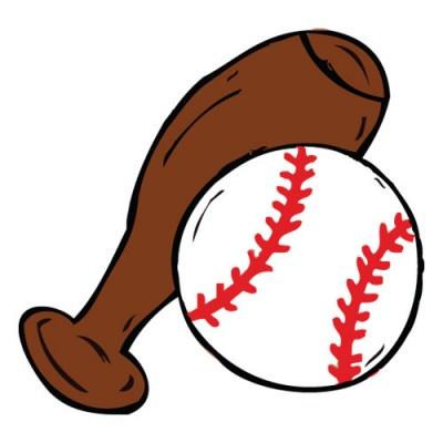 400x400 Softball Or Baseball Cartoon Ball And Bat 09883 By Download Vector
