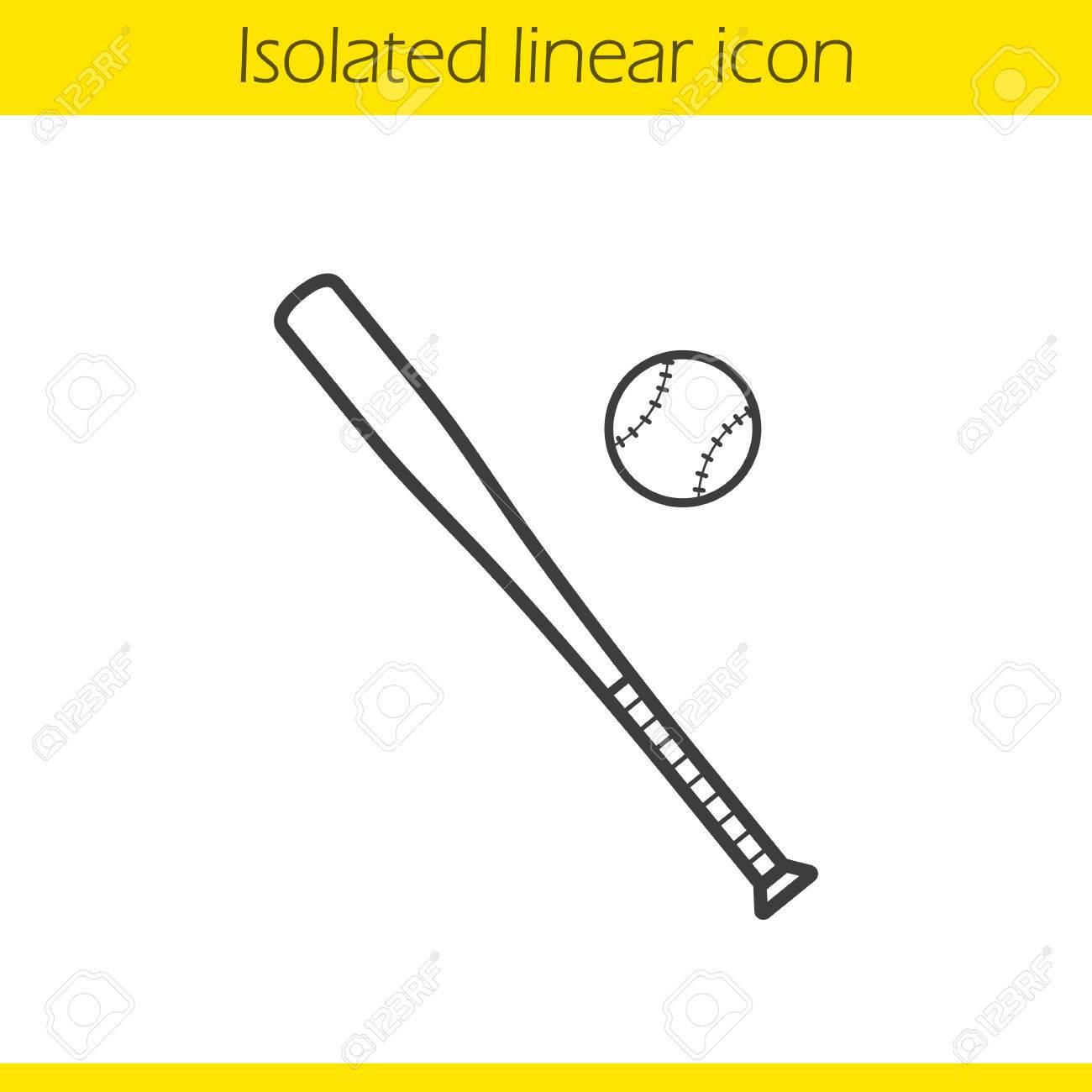1300x1300 Baseball Bat And Ball Linear Icon. Softball Thin Line Illustration