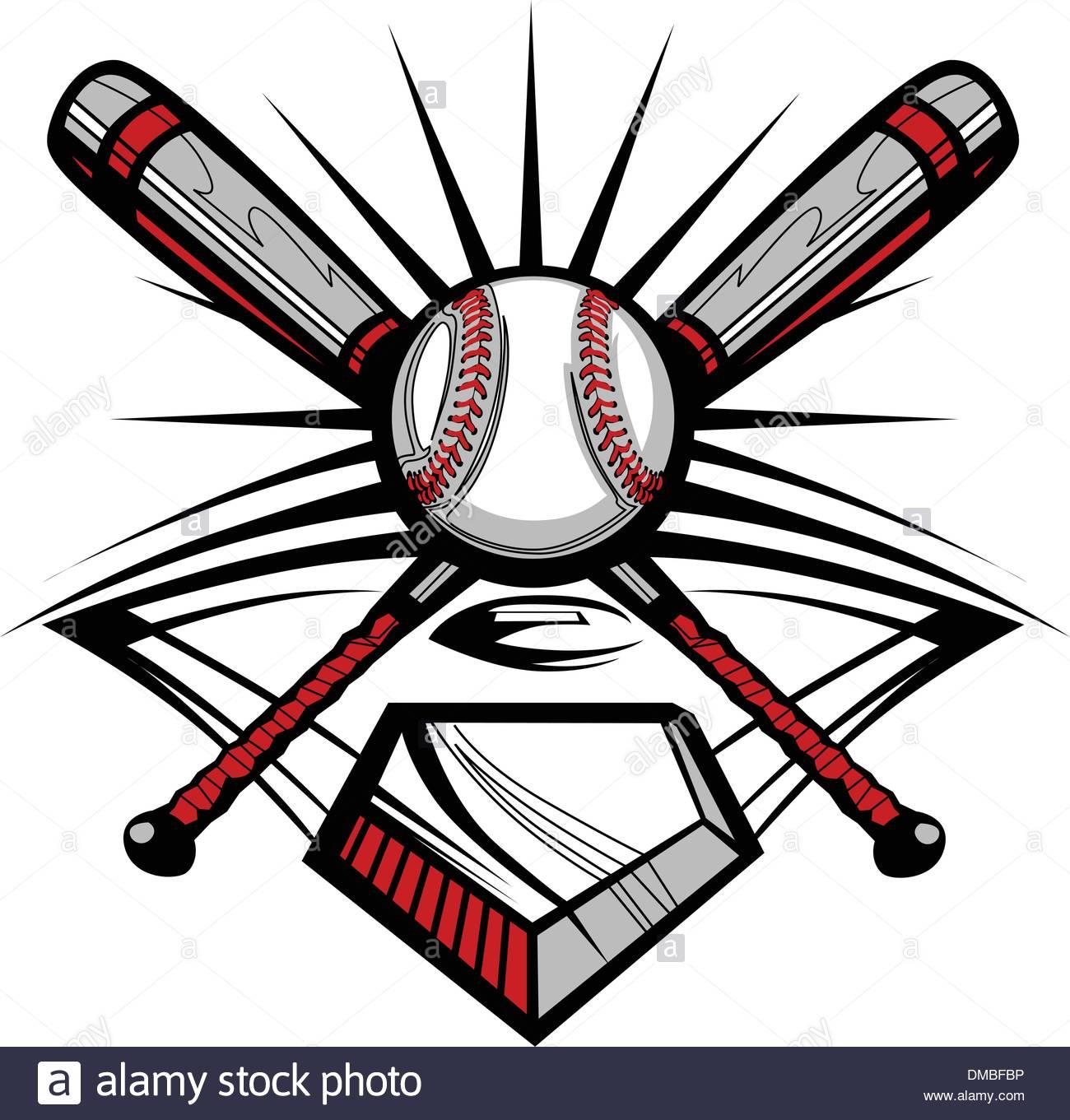 1300x1361 Baseball Or Softball Crossed Bats With Ball Vector Image Template