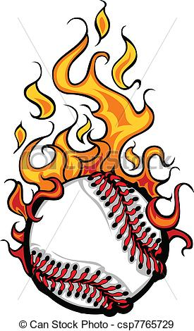 275x470 Baseball Softball Flaming Ball Vect. Flaming Baseball Eps