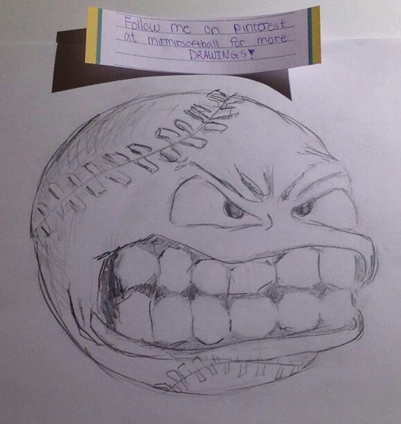 579x612 Here Is A Angry Softball I Drew. Follow Me