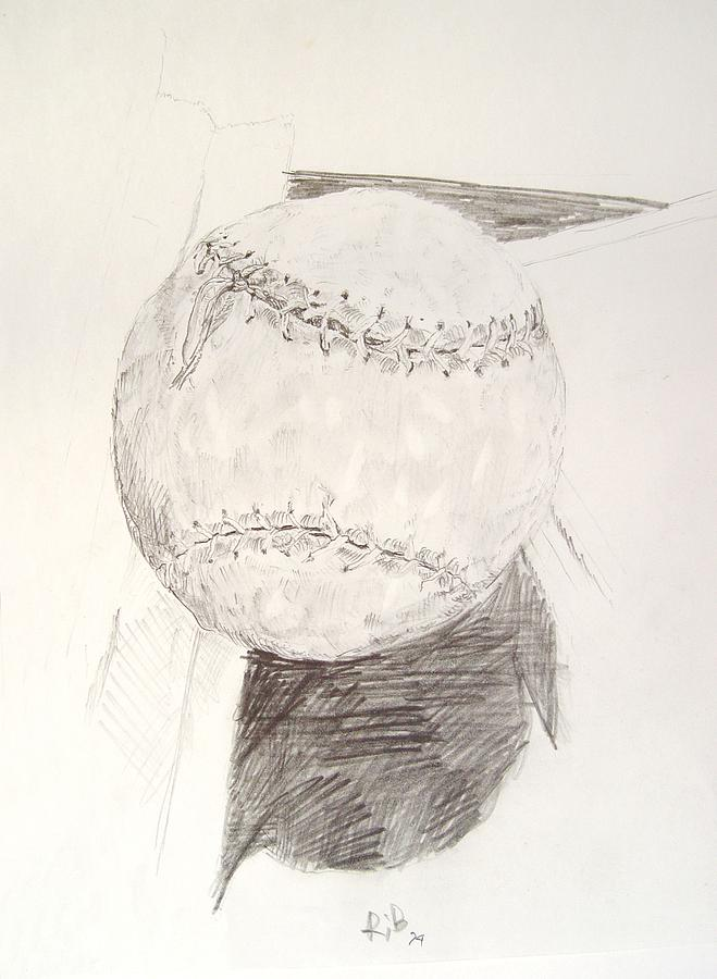 659x900 Softball Drawing By Ron Bissett