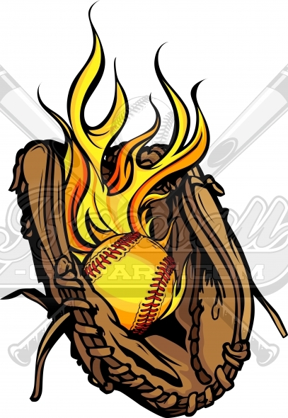 407x590 Flaming Softball Glove Vector Clipart Image
