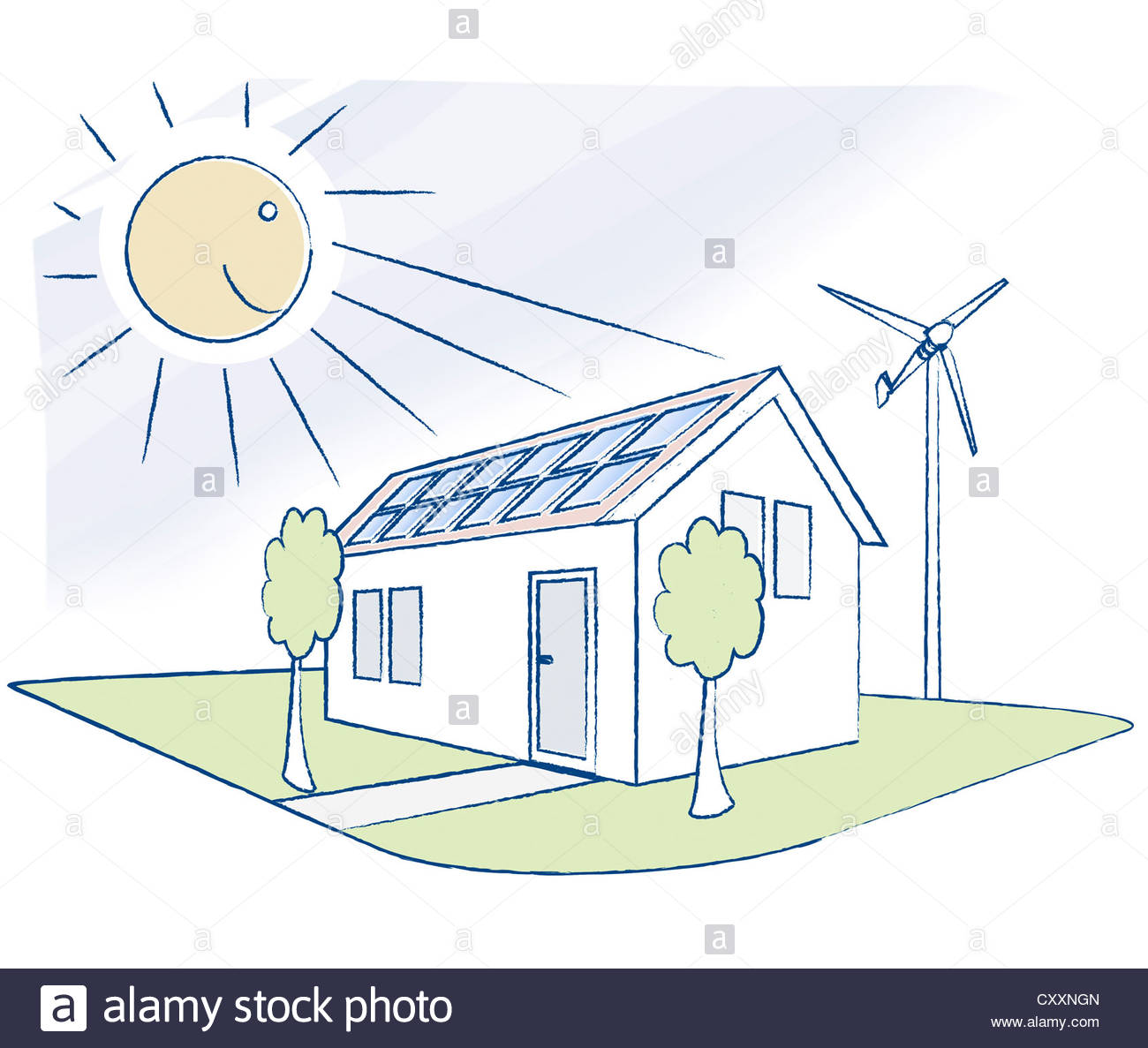 1300x1187 House With Solar Panels And A Small Wind Turbine, Illustration