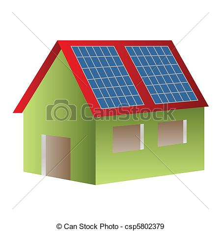 450x470 Solar Powered House. House Powered With Solar Panels Eps Vectors