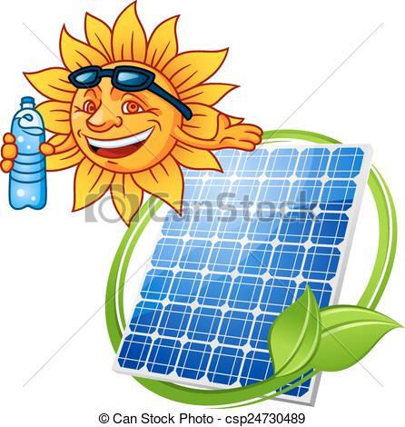 446x470 Cartoon Solar Panel With Sun. Solar Panel Eco Symbol In Vector