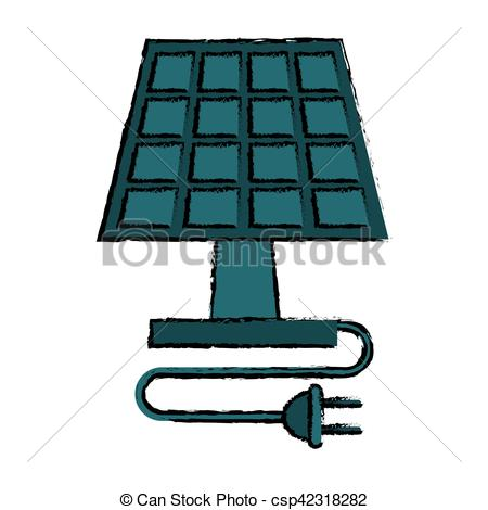 450x470 Drawing Solar Panel Plug Energy Ecological Clean Vector Vector