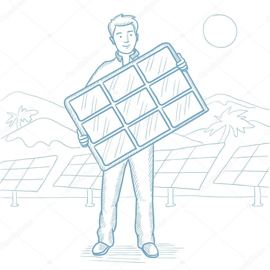 1024x1024 Man Holding Solar Panel Vector Sketch Illustration Stock Vector