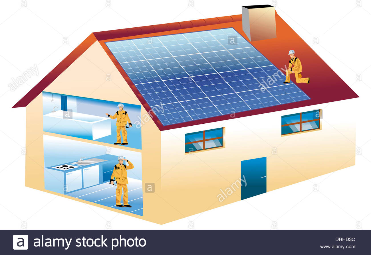 1300x895 Drawing Of An Ecological House With Photovoltaic Panels On