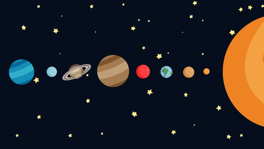 852x480 Cartoon Solar System By Order With Easy Camera Movements Stock