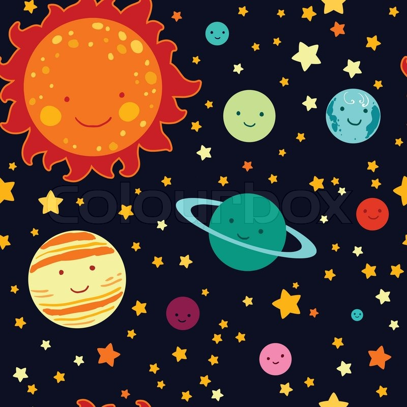 800x800 Kid's Style Drawing Solar System Seamless Vector Pattern. Stock