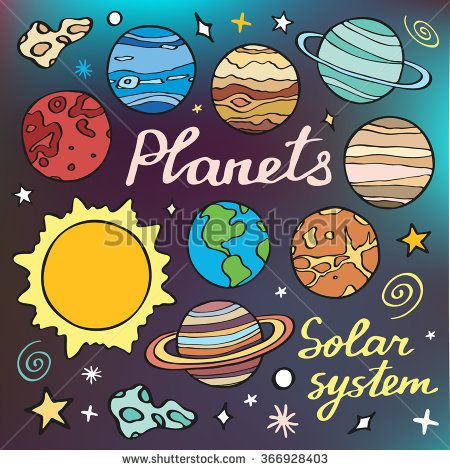 450x470 Planets Set. Hand Drawn Cartoon Collection Of Solar System Planets