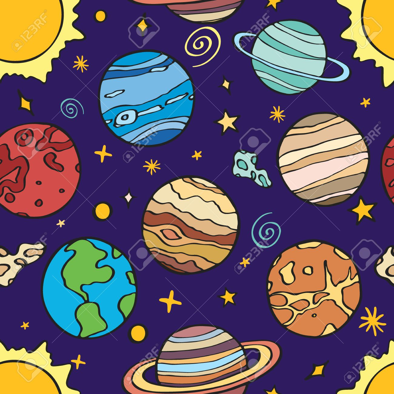 1300x1300 Solar System Planets. Seamless Pattern With Hand Drawn Cartoon
