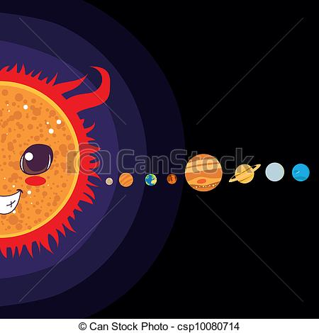 450x470 Sun Cartoon With Solar System Planets Sorted In Line Vector Clip