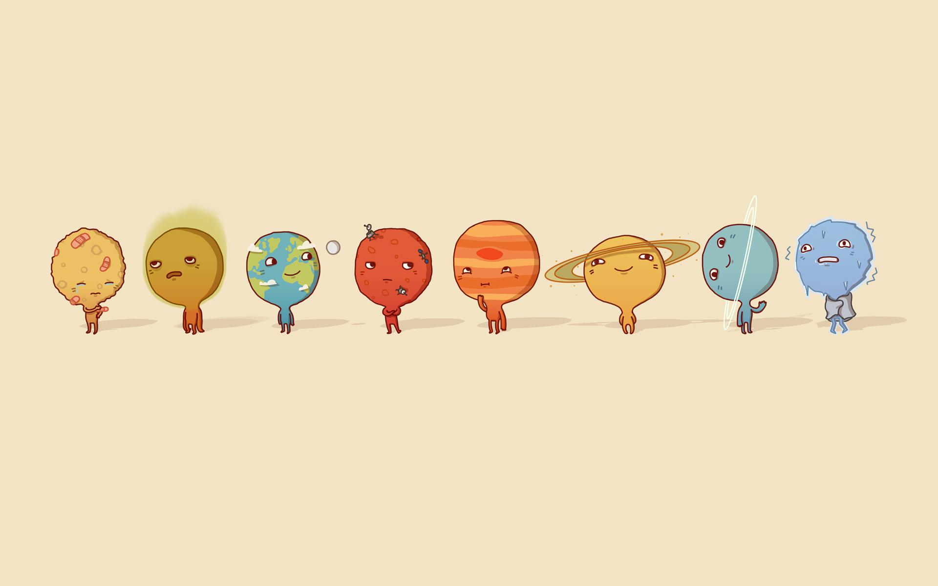 1920x1200 Solar System Cartoon
