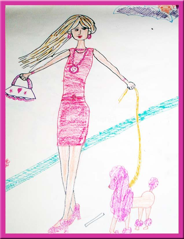 636x823 Barbie Doll Amp Puppy Drawing