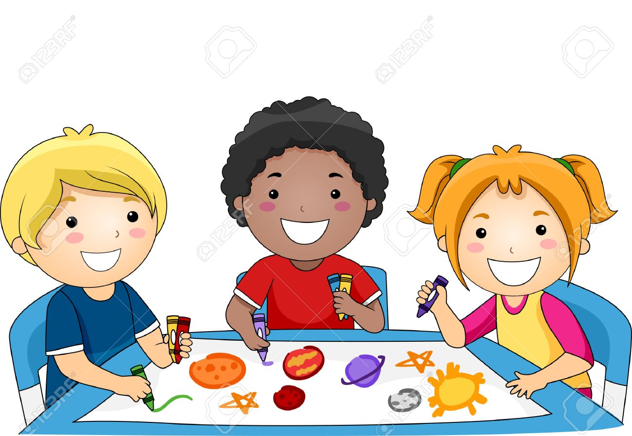 1300x898 Illustration Of A Diverse Group Of Preschool Kids Drawing