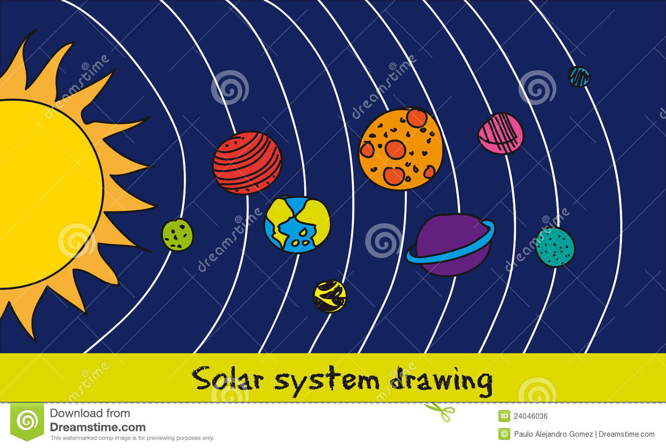 1300x875 Solar System Drawing For Kids Solar System Drawing Royalty Free