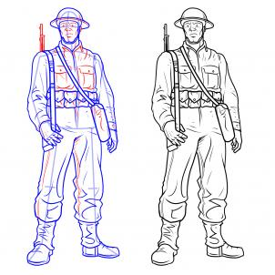302x302 How To Draw Soldiers, Step By Step, Figures, People, Free Online