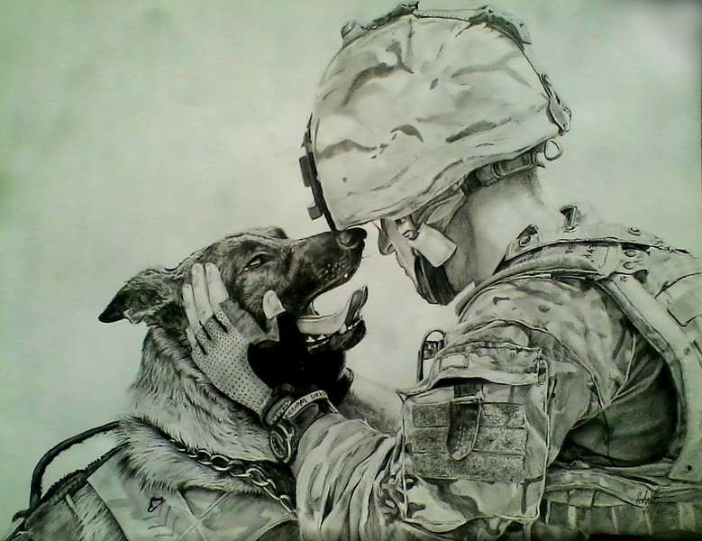 779x600 Natalie Bledsoe Photo Keywords Soldier, Dog, Army, Drawing