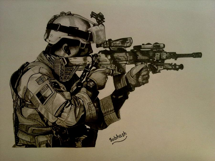 900x675 Soldier Colt Situation Afghanistan Drawing By Subhash Mathew