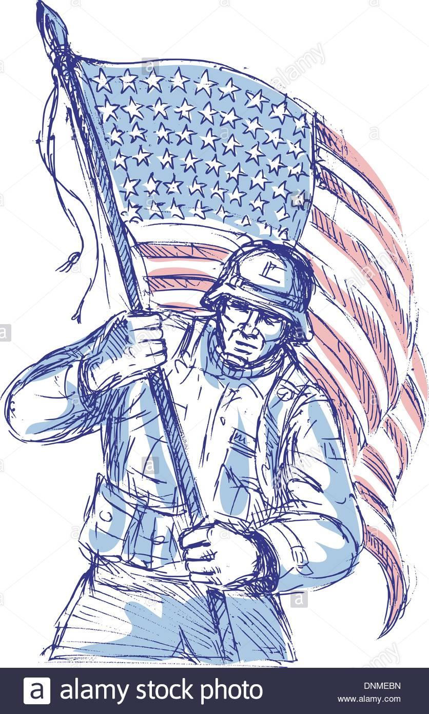 836x1390 Hand Drawn Sketch Of An American Soldier In Full Battle Gear