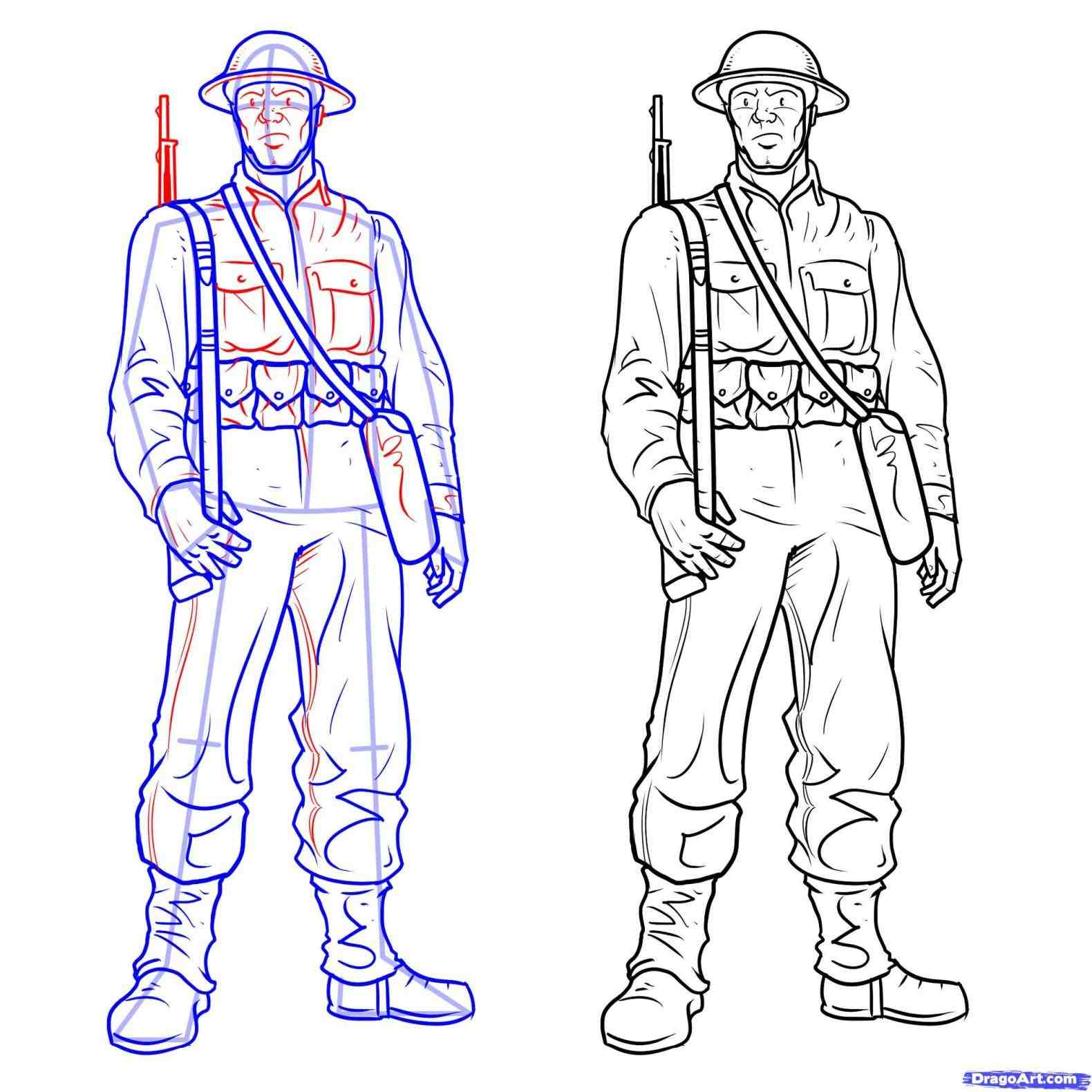 1580x1580 American Soldier Easy Drawing