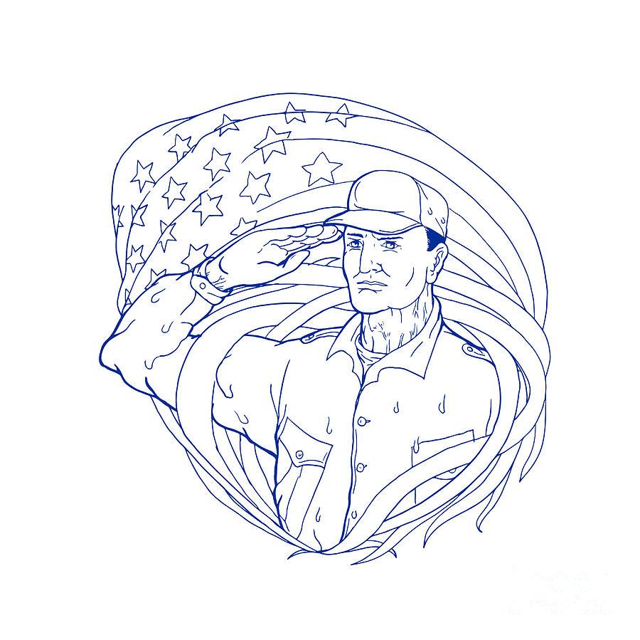 900x899 American Soldier Salute Flag Ukiyo E Digital Art By Aloysius