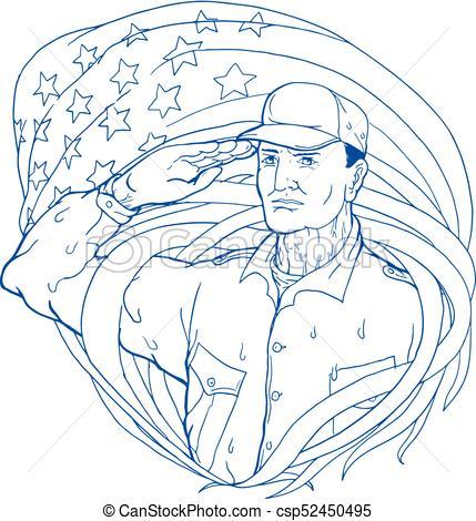 429x470 American Soldier Salute Flag Ukiyo E. Ukiyo E Or Ukiyo Style
